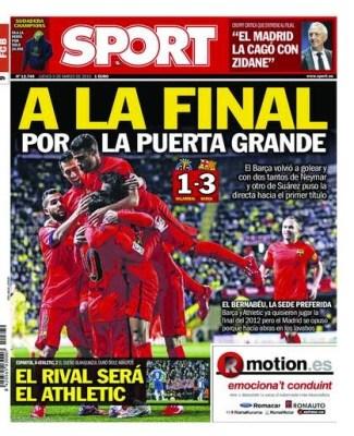 Portada Sport: a la final por la puerta grande copa rey