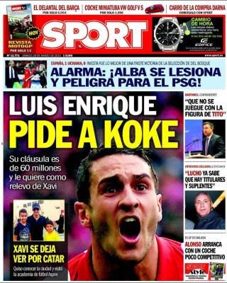 Portada Sport: Luis Enrique pide a Koke