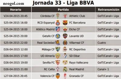 Partidos Jornada 33. Liga Española BBVA 2015