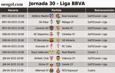 Partidos Jornada 30. Liga Española BBVA 2015