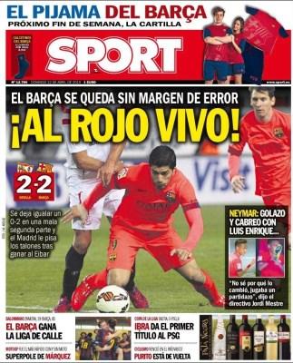 Portada Sport: la liga al rojo vivo barcelona empata con sevilla
