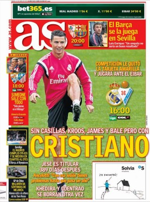 Portada AS: Cristiano juega ante el Éibar