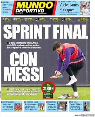 Portada Mundo Deportivo: sprint final con Messi