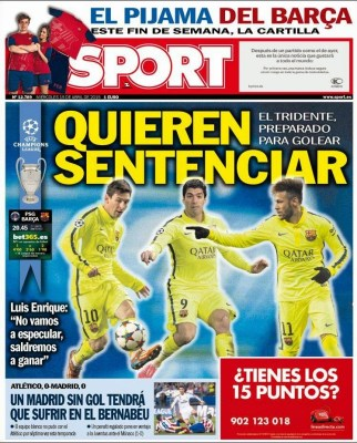 Portada Sport: Hoy PSG vs. Barça champions