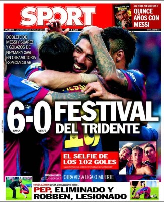Portada Sport: 6-0 festival del tridente barcelona golea getafe