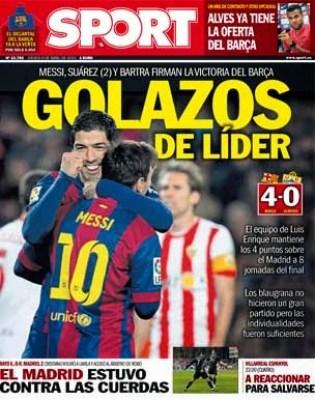 Portada Sport: golazos de líder