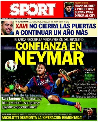 Portada Sport: confianza en Neymar