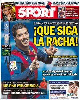 Portada Sport: que siga la racha barça psg