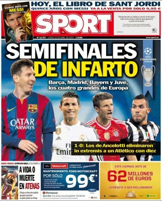 Portada Sport: Semifinales de infarto champions