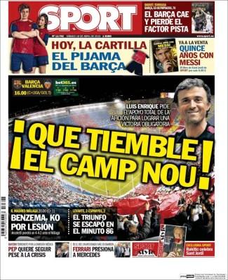 Portada Sport: Que tiemble en Camp Nou