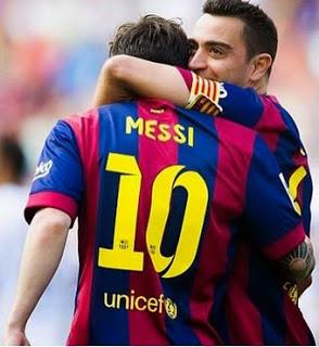 Barcelona 2-Deportivo la Coruña 2. Jornada 38 Liga Española Messi y Xavi Hernández