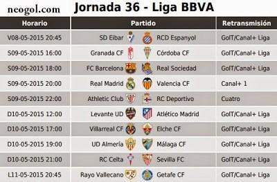 Partidos Jornada 36. Liga Española BBVA 2015