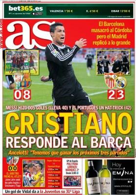 Portada AS: Cristiano responde al Barça