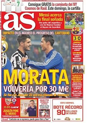 Portada AS: Morata volvería por 30 millones