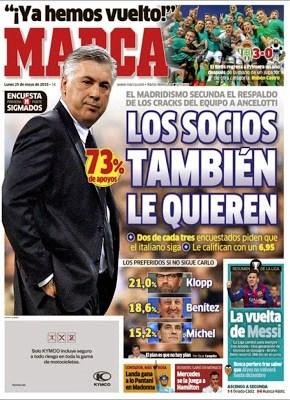 Portada Marca: los socios quieren a Ancelotti