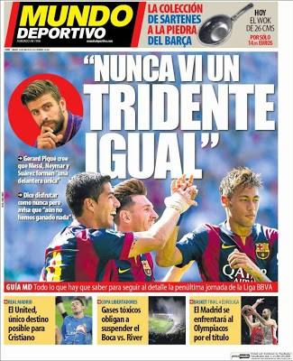 Portada Mundo Deportivo: 'Nunca vi un tridente igual'