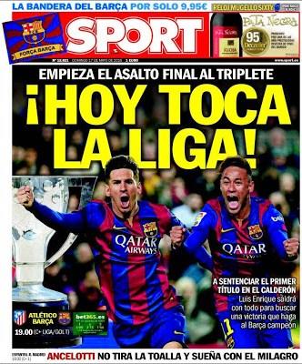 Portada Sport: Hoy toca la liga
