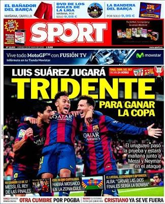Portada Sport: Tridente para ganar la Copa