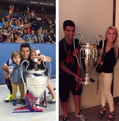 surez hija esposa  instagram champions league 2015