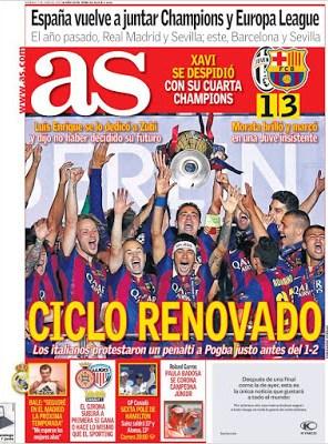 Portada AS: Ciclo renovado barcelona campeon champions 2015