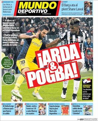 Portada Mundo Deportivo: Arda y Pogba