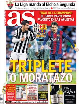 Portada AS: Triplete o Moratazo final champions