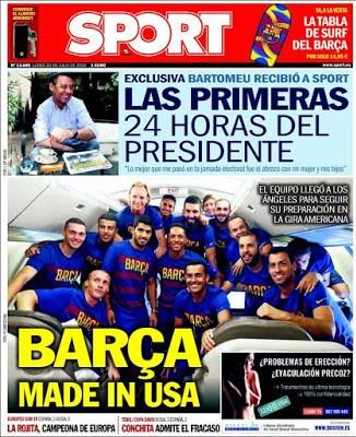 Portada Sport: Barça made in USA