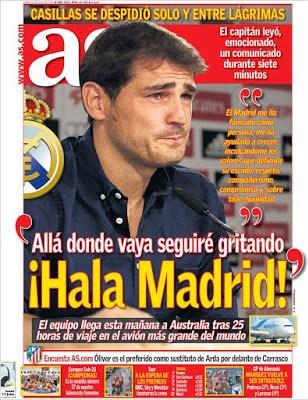 Portada AS: Allá donde vaya seguiré gritando Hala Madrid iker casillas