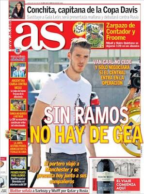 Portada AS: Sin Ramos no hay De Gea