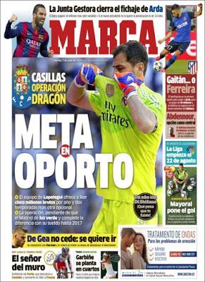 Portada Marca: Iker Casillas cerca del Oporto