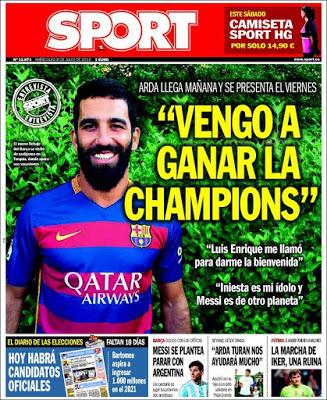 Portada Sport: Arda Turan quiere la Champions