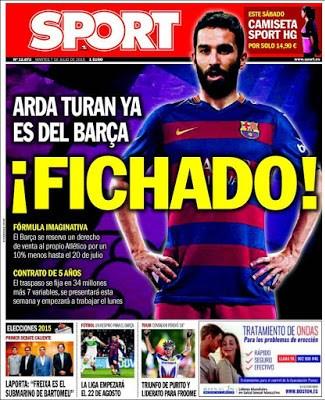 Portada Sport: El Barcelona ficha a Arda Turan