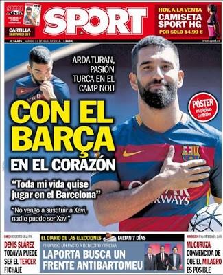 Portada Sport: Arda Turan presentado en el Barça