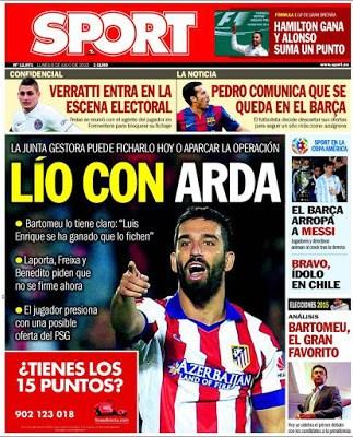 Portada Sport: Lío por Arda