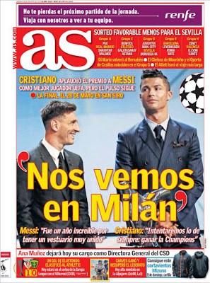 Portada AS: Nos vemos en Milán messi ronaldo uefa best player