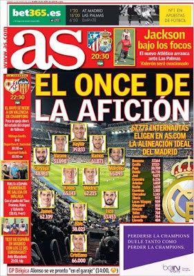 Portada AS: el once del Madrid ideal para la afición