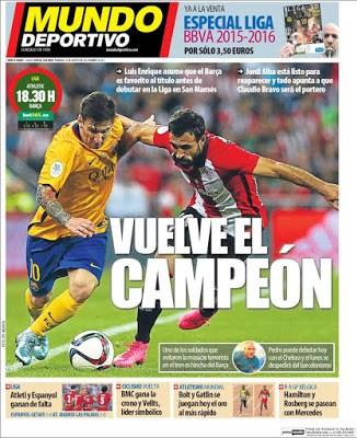 Portada Mundo Deportivo: Vuelve el Barça campeón