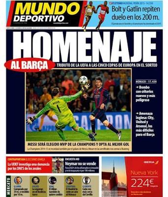 Portada Mundo Deportivo: homenaje al Barça champions