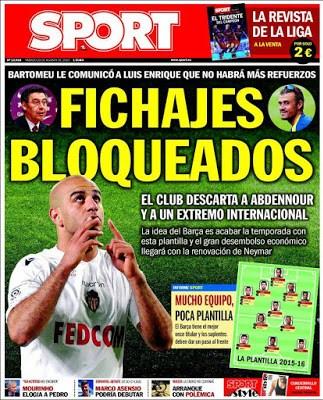 Portada Sport: fichajes bloqueados