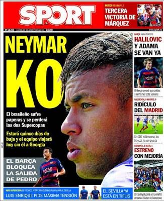 Portada Sport: Neymar KO