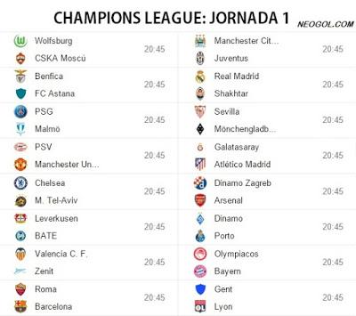 Partidos Jornada 1 Champions League 2015-2016