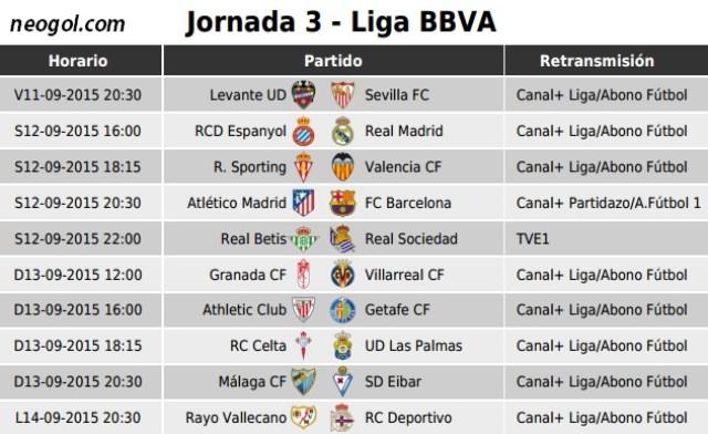 Partidos Jornada 3. Liga Española BBVA 2015 retransmisión por tv