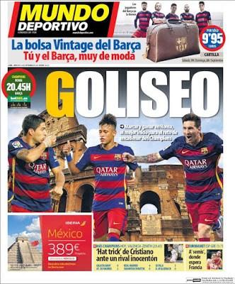 Portada Mundo Deportivo: Golieso barcelona roma