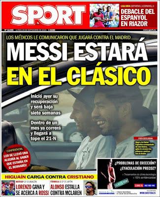Portada Sport: Messi estará en el clásico