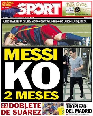 Portada Sport: Messi KO