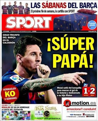 Portada Sport: Messi Súper Papá