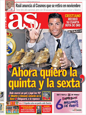 Portada AS: Cristiano Ronaldo Bota de Oro 2015 cuarta
