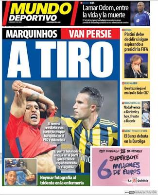 Portada Mundo Deportivo: Marquinhos y Van Persie a tiro