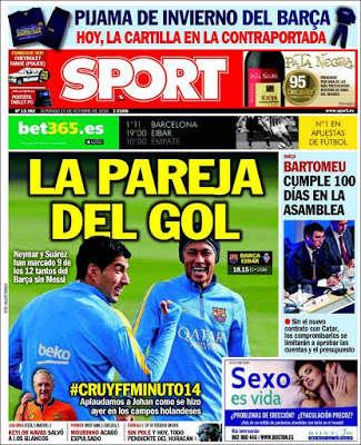 Portada Sport: la pareja del gol neymar suarez