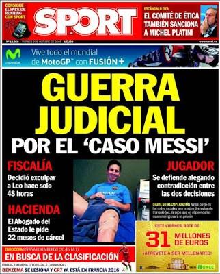 Portada Sport: Guerra Judicial messi carcel